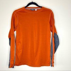 Ibex Long Sleeve Color Block T Shirt Orange Small
